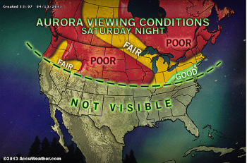 AccuWeather's prediction for viewing conditions tonight.  While their ability to predict the red, yellow and green regions (based on cloud cover) is not in question, no one can reliably predict the green line that determines where the auroras might potentially be seen.
