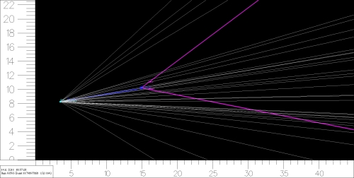 A computer reconstruction of the tracks in a proton-proton collision measured by LHCb.  Most tracks start at the proton-proton collision point, but the two tracks drawn in purple emerge from a different point, the apparent location of the decay of a hadron containing a bottom quark.