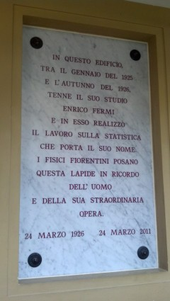 Plaque commemorating Fermi's work on what we now call `fermions'. [Credit: M. Strassler]
