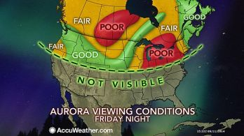 Don't believe this map by AccuWeather.  Oh, sure, they know something about clouds.  But auroras, not much.